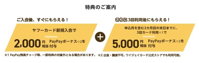 Yahoo!JAPANカードの入会キャンペーン:特典の内訳(2,000円+5,000円)