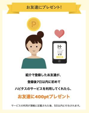 ハピタスの友達紹介:被紹介者の特典(400ポイント)