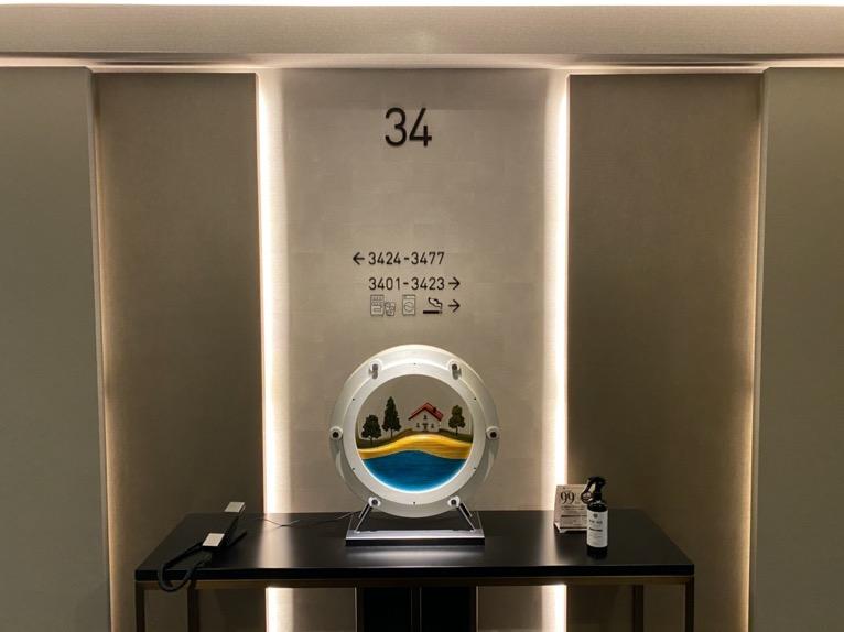 三井ガーデンホテル豊洲ベイサイドクロス宿泊記「客室」:エレベーターホール