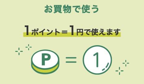 Vポイントは1ポイント=1円で使える