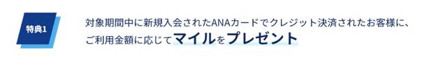 ANAカードの入会キャンペーン:ステップ2「特典1:決済条件クリアでマイル獲得」