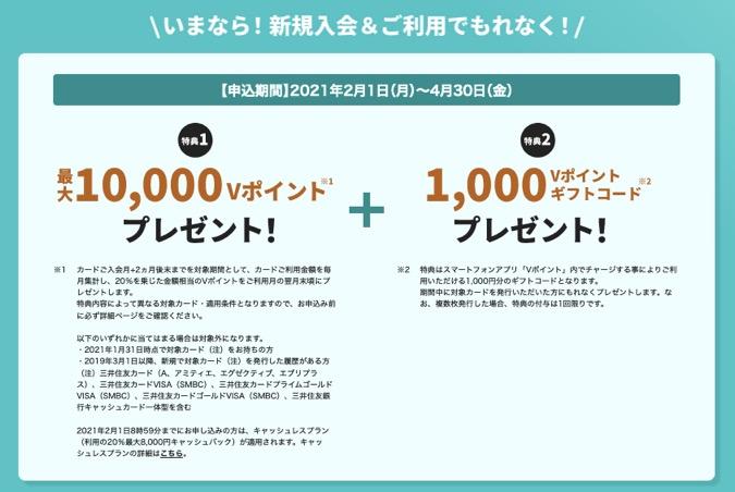 「三井住友カード ナンバーレス」の入会キャンペーン