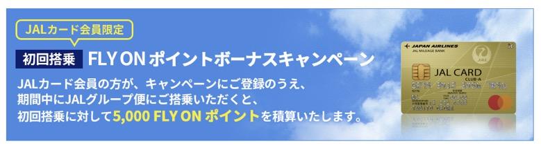 初回搭乗 JAL FLY ONポイントボーナスキャンペーン