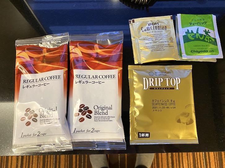 シェラトングランデ東京ベイ「和室スイーツ」:ミニバー(コーヒー、紅茶、日本茶)