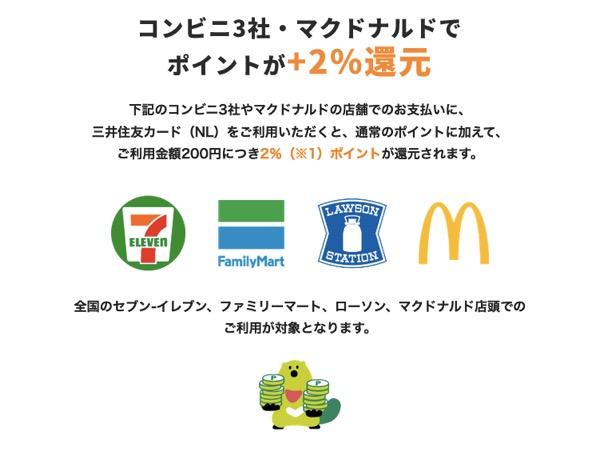 三井住友カード ナンバーレス(NL)の特徴:コンビニ3社・マクドナルドで+2%還元