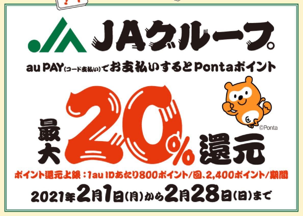au Payの20%還元キャンペーン:JAグループ