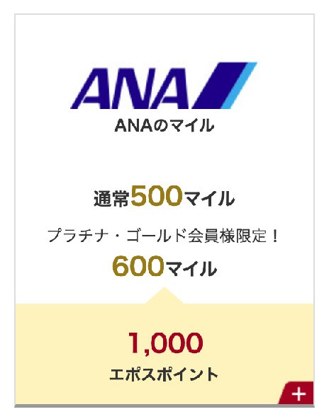 エポスポイント:ANAマイルへの交換レート