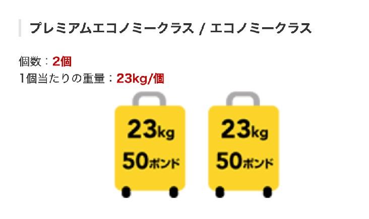 JALエコノミークラスの手荷物の許容量