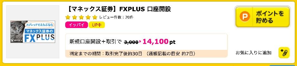 ハピタス:マネックス証券「FXPLUS」口座開設