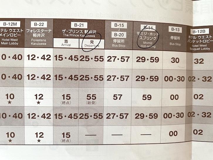 ザ・プリンス軽井沢:ピックアップバスの時刻表