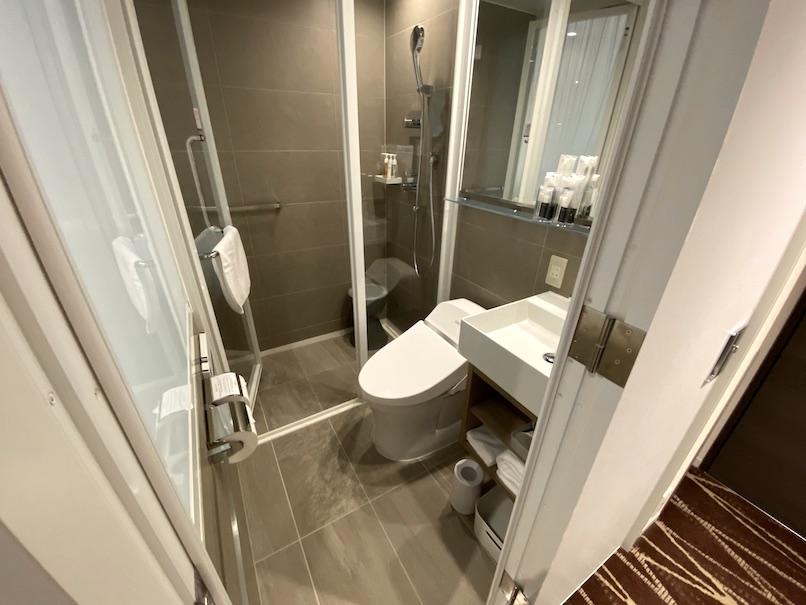 レムプラス銀座の客室:洗面台、トイレ、シャワー