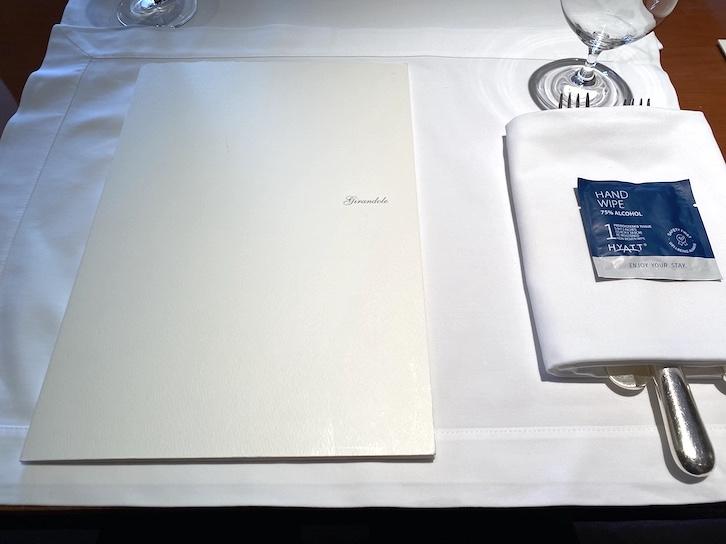 パークハイアット東京:ジランドールのテーブルセッティング
