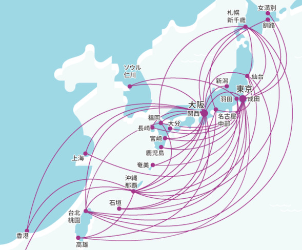Peach(ピーチ)の就航路線(概要図)