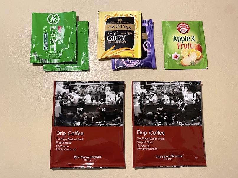 東京ステーションホテルの客室:ミニバー(コーヒー&紅茶)